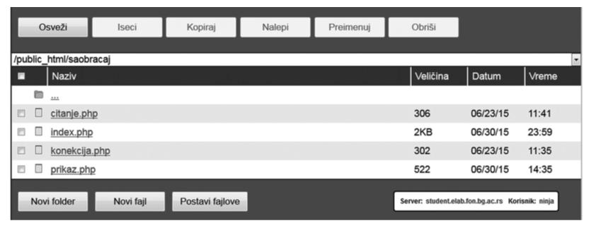 Slika 2: Struktura fajlova na Elab hostingu