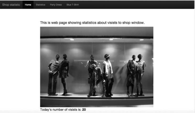 Slika 2: Prikaz početne stranice veb aplikacije sa brojem poseta