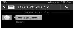 Slika 2 SMS obaveštenje